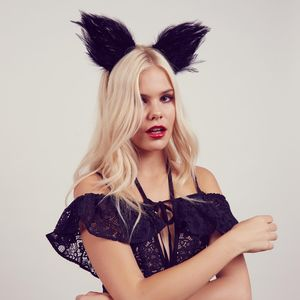 Feather Black Cat Ears Headband - head pieces