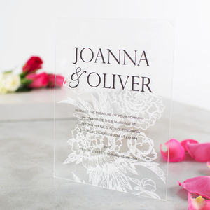 Personalised Acrylic Floral Wedding Invitations - invitations