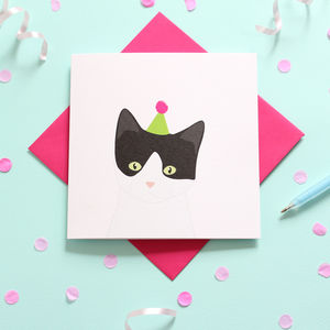 Black And White Cat, Birthday Card