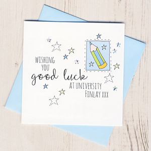 Personalised Pencil Good Luck At University Card