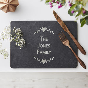 Personalised Slate Placemat - inspired by family