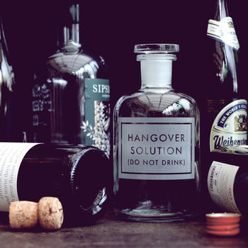 Etched 'Hangover Solution' Bottle