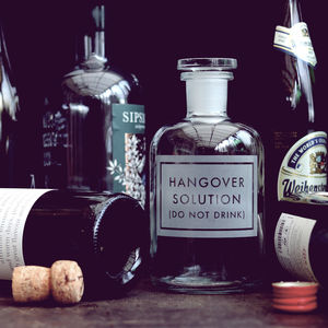 Etched 'Hangover Solution' Bottle - the apothecary
