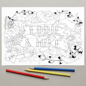 Personalised Mr And Mr Wedding Colouring In Page