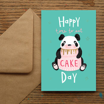 'Happy Time To Eat Cake Day' Birthday Panda Card