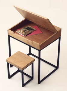 Wooden Children's Desk And Stool