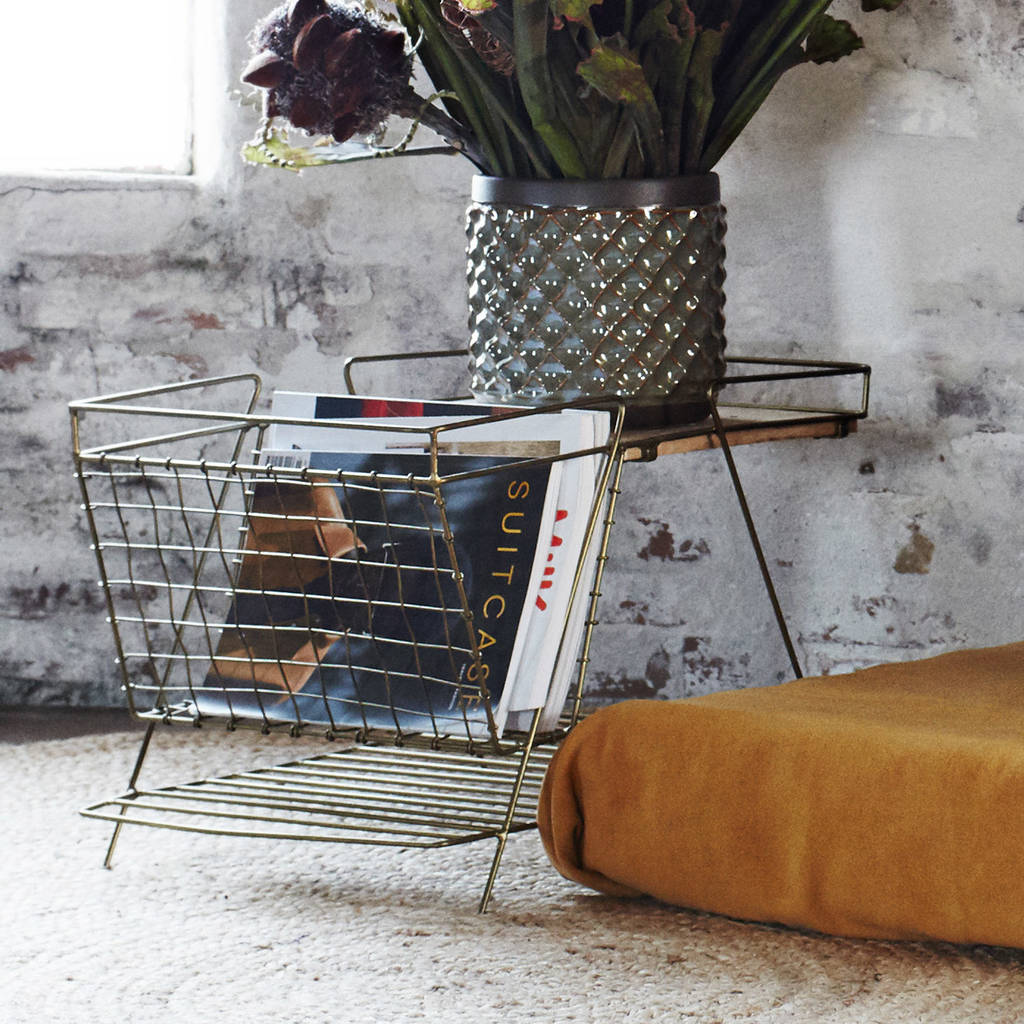 Gold magazine rack with wooden shelf by posh totty designs for Trendy magazine rack