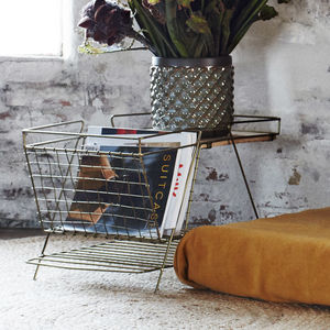 Gold Magazine Rack With Wooden Shelf
