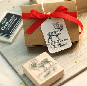 'Christmas Reindeer Stamp' - ribbon & wrap
