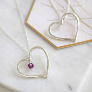 Sterling Silver Contemporary Large Heart Necklace