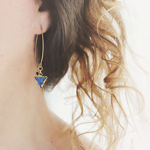 Blue Druzy And Sapphire Earrings
