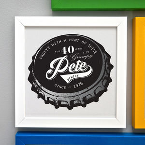 Personalised 40th Birthday Beer Bottle Top Framed Print - dates & special occasions