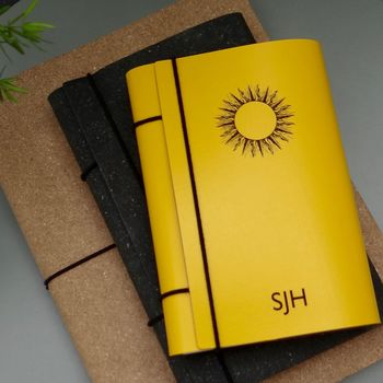 Personalised Leather Diary And Happiness Journal