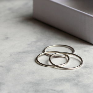 Skinny Stacking Ring Set Silver - rings