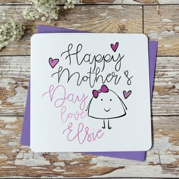 Personalised Happy Mother's Day Love From Pink Card