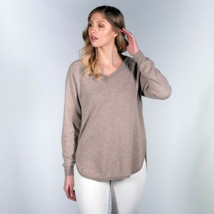100% Cashmere Relaxed V Neck Tunic Jumper