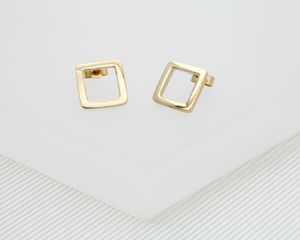 Solid Gold Square Earrings