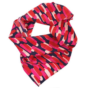 Hot Pink Painty Printed Silk Scarf, Wife Gift - womens