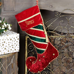 Personalised Velvet Jingle Bell Christmas Stockings - stockings & sacks