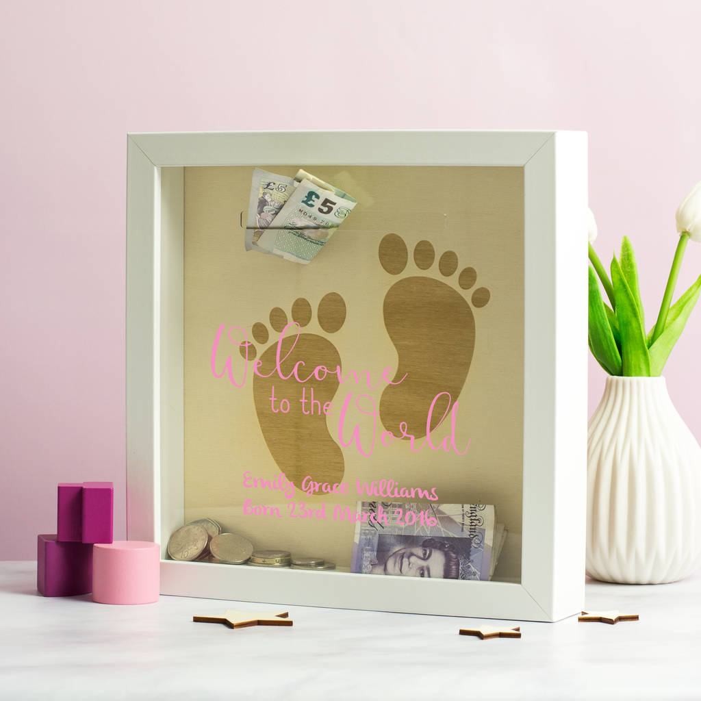 Personalised Welcome To The World Money Box Frame