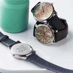 Personalised Silver Map Location Watch - frequent traveller