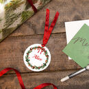 Personalised Christmas Wreath Stocking / Sack Tag