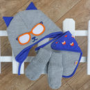 Knitted Cat Gift Set Hat Bib And Gloves Blue And Grey