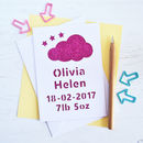 Personalised Sweet Dreams New Baby Glitter Cut Out Card