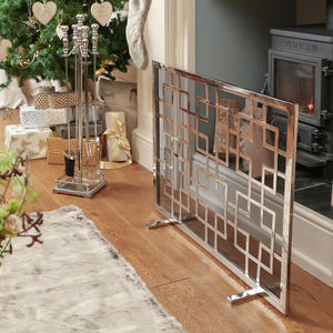 Kensington Mirror Reflecting Footed Fire Screen - fireplace accessories