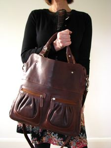 Brown Leather Handbag Tote With Pockets - cross-body bags