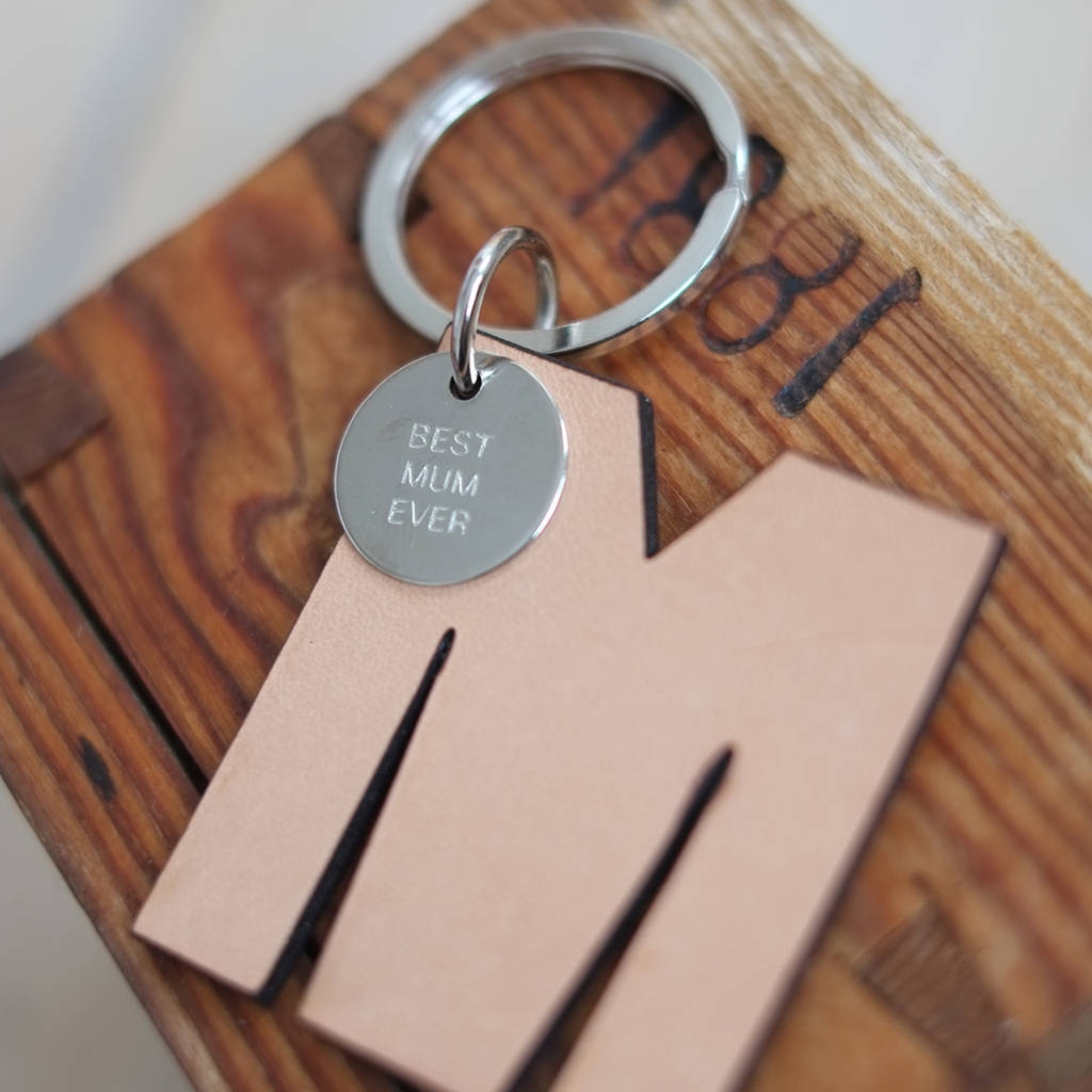 'Best Mum Ever' Leather Letter Key Ring