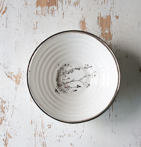 Porcelain Serving Bowl With Winter Twig Drawing - bowls
