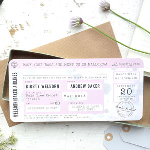 Vintage Style Boarding Pass Wedding Invitation - invitations