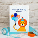 Personalised 'Lion' Boys Birthday Card
