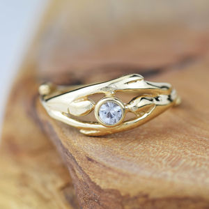 White Sapphire Solid Gold Engagement Ring - engagement rings