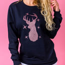 Rose Gold Glitter Reindeer Christmas Jumper