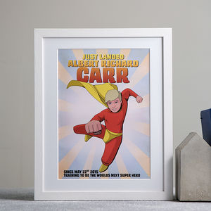 Personalised Super Boy Hero Comic Book Style Print - gifts for babies & children sale