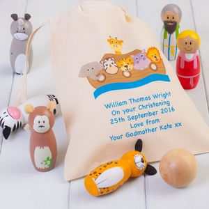 Childrens Noahs Ark Skittles And Personalised Bag - traditional toys & games
