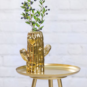 Ceramic Gold Cactus Vase - candles & home fragrance
