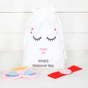 Personalised Girls Sleepover Bag And Accessories - eye masks & neck pillows