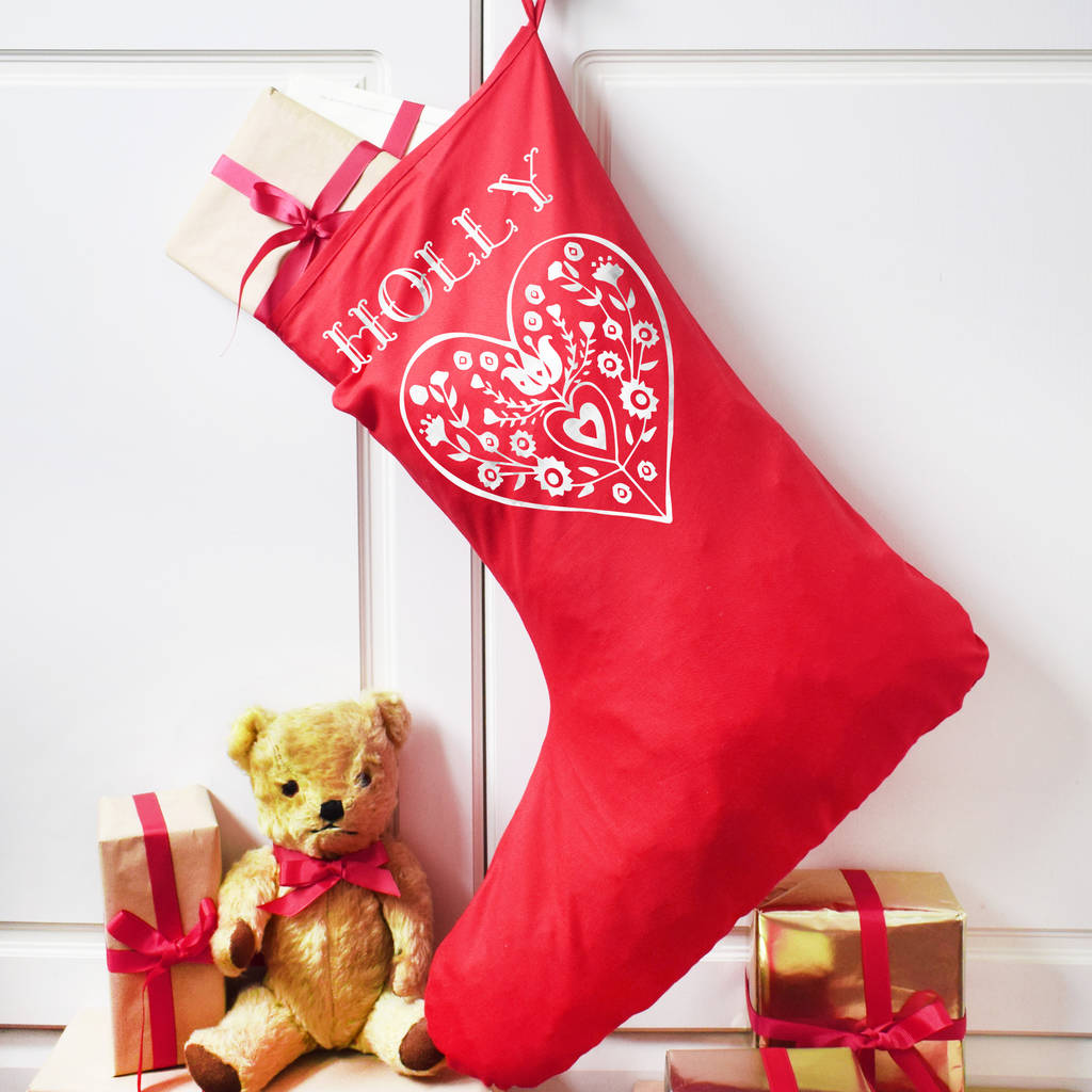 personalised nordic heart big christmas stocking by weasel and stoat ...