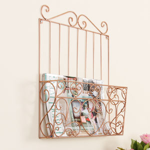 Sale Rose Copper Wall Magazine Storage Rack - home sale