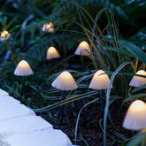 12 Mini Mushroom Solar Stake Lights - garden