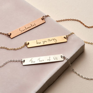 Loved Ones Handwriting Bar Necklace - jewellery