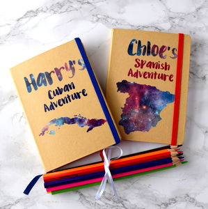 Personalised Kids Travel Journal With Pencils