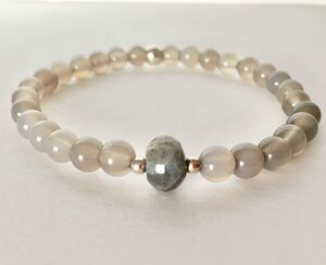 Labradorite And Grey Agate Silver Stacking Bracelet