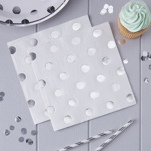 White And Silver Foiled Polka Dot Paper Napkins - napkins & napkin holders