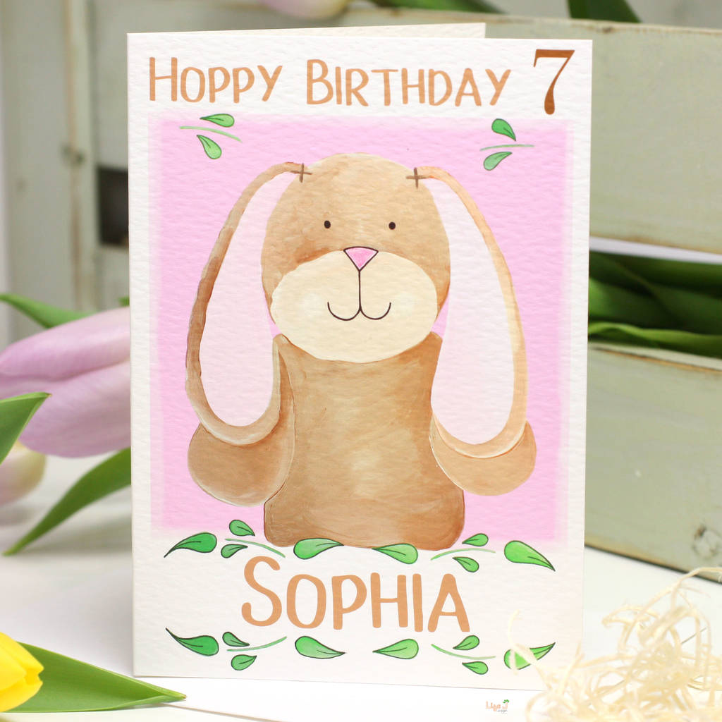 Personalised bunny age hoppy birthday card by liza j design personalised bunny age hoppy birthday card bookmarktalkfo Images