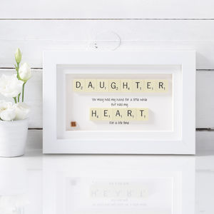 A Daughter Will Hold Your Heart Scrabble Art