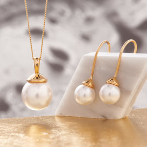 Pearl Necklace And Earring Set In Gold - women's jewellery